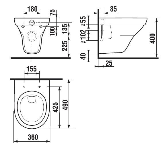 Sienas tualete Jika Tigo Compact H8202130000001, 360x490 mm