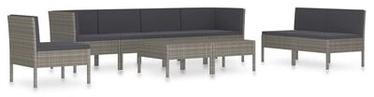 Välimööbli komplekt VLX Garden Lounge Set Poly Rattan, hall, 7 istekohta