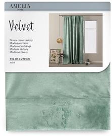 AmeliaHome Velvet Pleat Curtains Mint 140x270cm