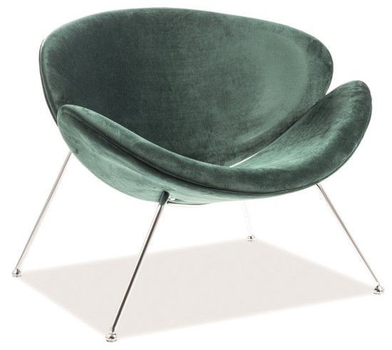 Fotelis Signal Meble Major Velvet Green/Chrome, 84x49x72 cm