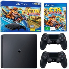 Sony Playstation 4 Slim 1TB (PS4) Black + 2 Dualshock Controller + Crash Team Racing