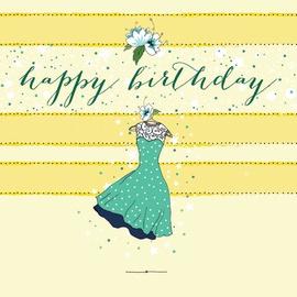 Clear Creations Polka-dot Dress Birthday Card CL0205