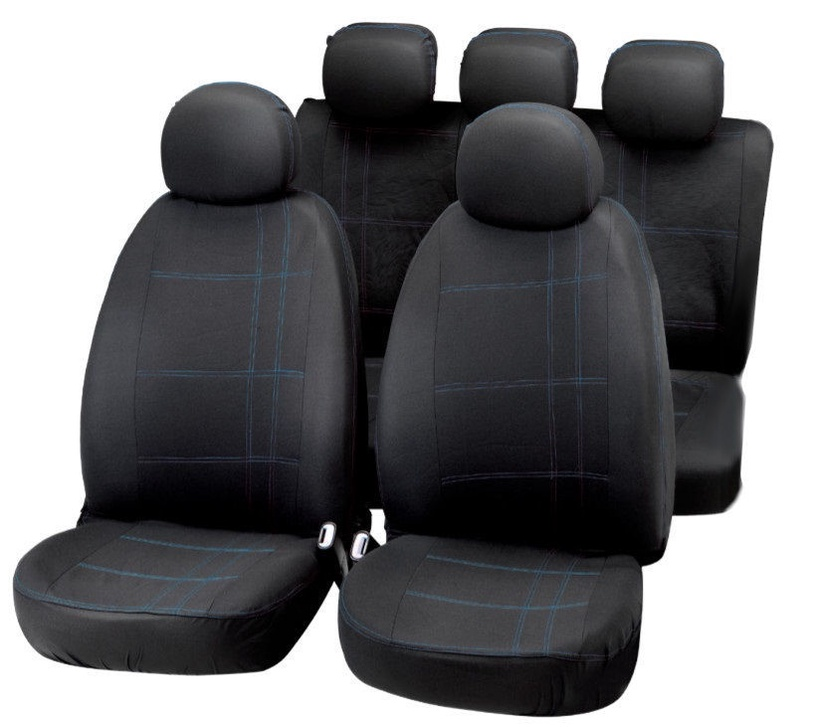 Чехлы для автомобильных сидений Bottari Embroidery Seat Cover Set Black Blue