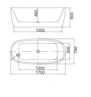 Vonia Masterjero 43778, 170x78x 60 cm, akrilas, ovalas
