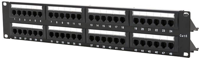 "Digitalbox Patch Panel 19"" 1U Cat 6. 48-port w/ Cable Management"