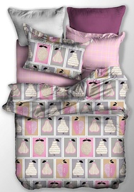 Gultas veļas komplekts DecoKing Basic, rozā/pelēka, 200x220/80x80 cm