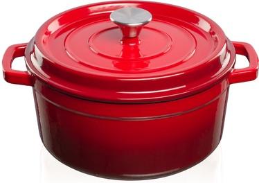Puodas su dangčiu Kamado Bono Grandfeu Cast Iron 4.7l, raudonas