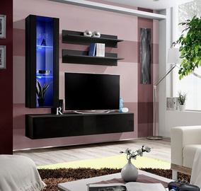 ASM Fly H Living Room Wall Unit Set Vertical Glass Black/Black Gloss