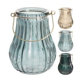 Stiklinė žvakidė-žibintas, 16 cm aukščio