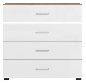 Black Red White Lurs Chest Of Drawers Riviera Oak/White