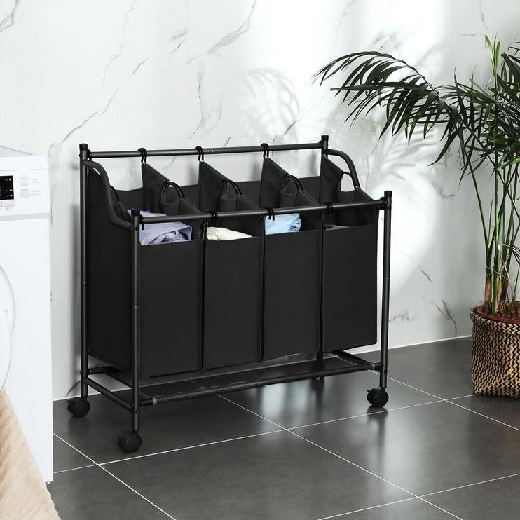 Songmics Laundry Cart 4 Bags Black