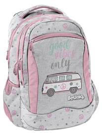 Paso BeUniq Bus School Backpack w/ Pencil Case & Wallet Grey/Pink