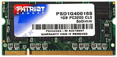Patriot Signature 1GB 400MHz DDR CL3 SODIMM PSD1G40016S