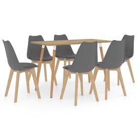 Обеденный комплект VLX 7 Piece 3056134, серый/коричневый