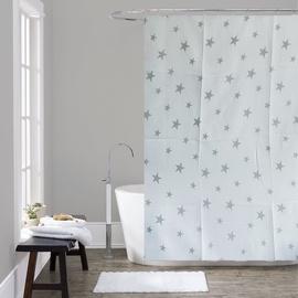 Vannas istabas aizkars Domoletti 171913, balta/pelēka, 1800 mm x 1800 mm