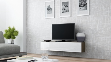 TV staliukas Cama Meble Vigo 140 Latte/White Gloss, 1400x300x400 mm