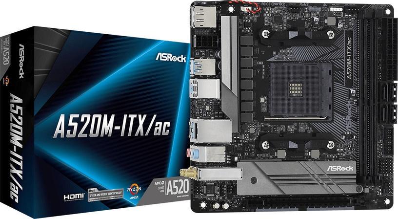 Mātesplate ASRock A520M-ITX/AC