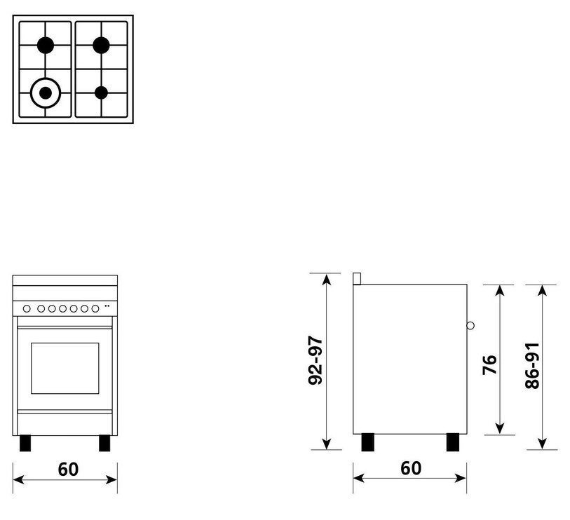 Dujinė viryklė su elektrine orkaite Glem M664MI Inox