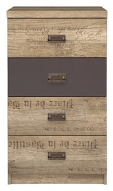 Komoda Black Red White Malcolm III Chest Brown