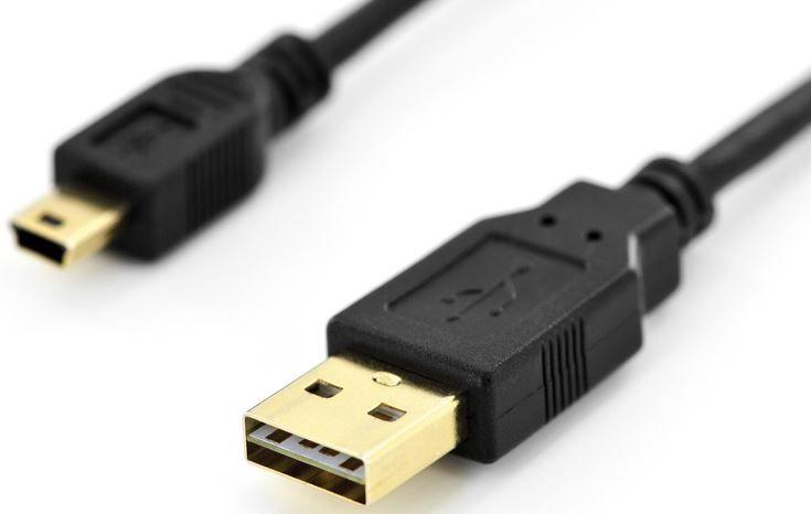 Assmann Reversible Cable USB-mini / USB Black 1m