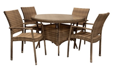 Home4you Wicker Garden Table And 4 Chair Set Cappucinno