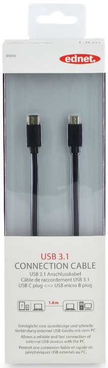 Ednet Cable USB-micro to USB Black 1.8m