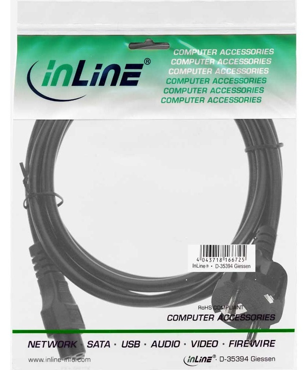 InLine Power Cable 3-pin Connector 2m Black