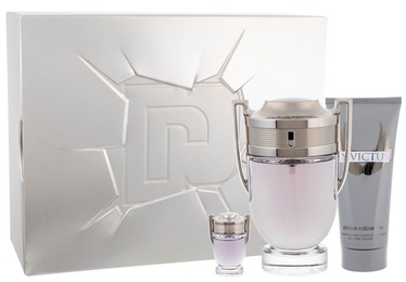 Paco Rabanne Invictus 100ml EDT + 100ml Shower Gel + 10ml EDT New Design