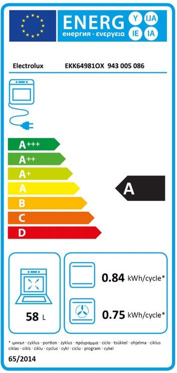 Dujinė viryklė su elektrine orkaite Electrolux EKK64981OX