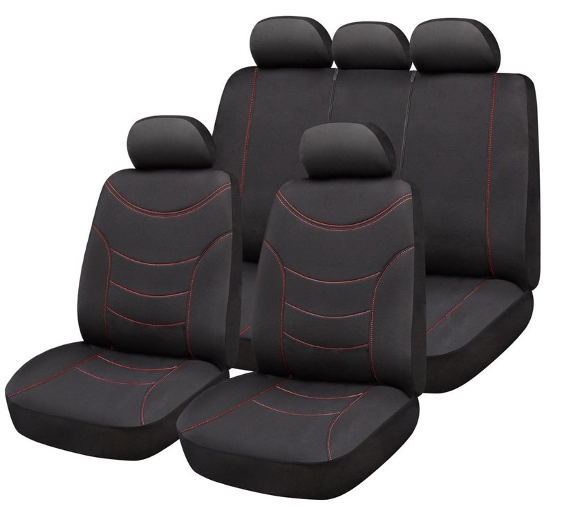 Bottari Curve Seat Cover Set Black Red