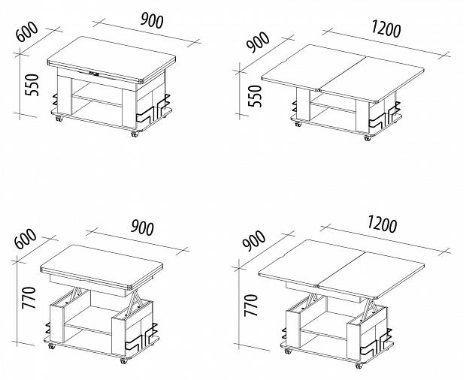 Kohvilaud DaVita Agat 23 Sonoma Oak, 900 - 1200x600x550 - 770 mm