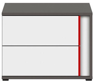 Black Red White Graphic Night Stand Right White/Wolfram Grey/Red