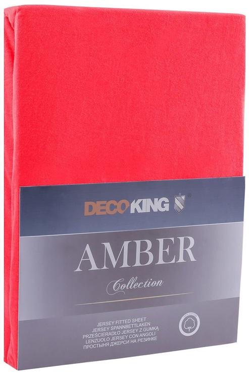 Palags DecoKing Amber, sarkana, 200x200 cm, ar gumiju