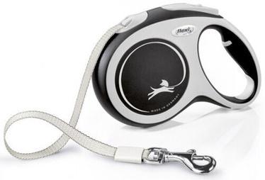 Поводок Flexi New Comfort Tape L, черный, 5 м