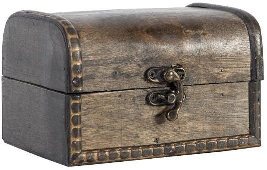 Home4you Wooden Chest BAO 14x10.5xH9cm Antique/Gray