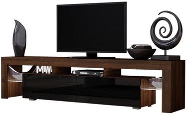 TV galds Pro Meble Milano 200 Walnut/Black, 2000x350x450 mm