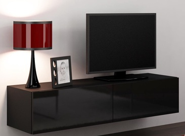 TV galds Cama Meble Vigo 140, melna, 1400x300x400 mm