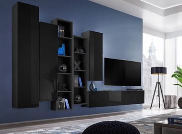 ASM Blox V Living Room Wall Unit Set Black