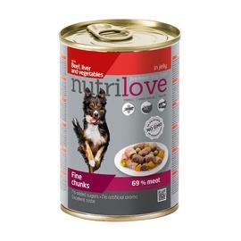 Konservuotas ėdalas šunims Nutrilove Fine Chunks, su kepenėlėmis ir daržovėmis, 415 gr