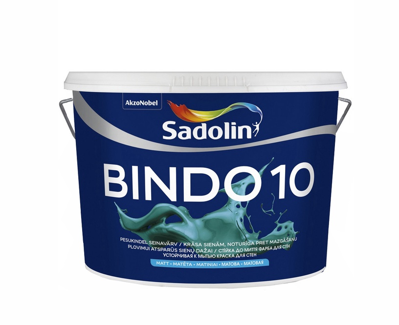 Krāsa lateksa BINDO 10 BW 10L (SADOLIN)