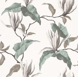 Tapetas flizelino pagrindu Rasch 440409 Selection Papier, gelsvas su žaliomis gėlėmis