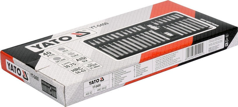 Yato YT-0400 Screwdriver Bit Set Torx, Hex, Spline 40pcs