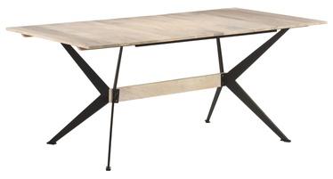 Pusdienu galds VLX Solid Mango Wood 321688, melna/koks, 1800 mm x 900 mm x 760 mm