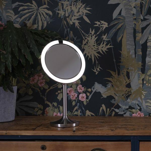 Veidrodis Homedics Twist Illuminated MIR-SR900 Inox, su apšvietimu, pastatomas, 19.5x37 cm