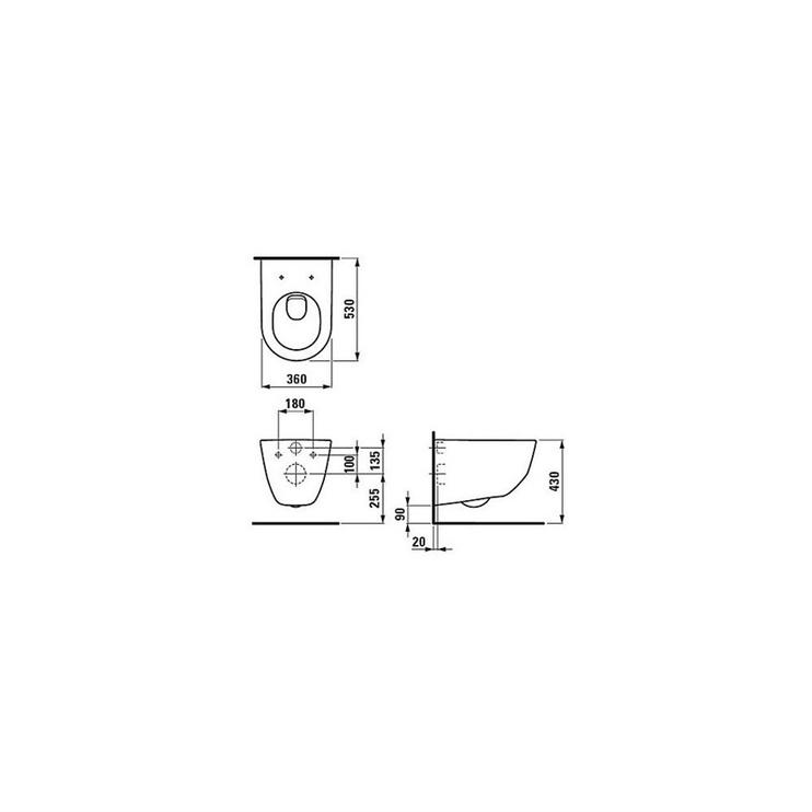 Sienas tualete Laufen Pro H8669530000001, ar vāku, 360 mm x 530 mm