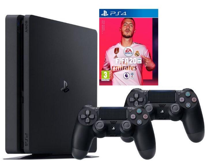 Sony Playstation 4 (PS4) Slim 1TB Black + 2 Dualshock Controllers + FIFA 20