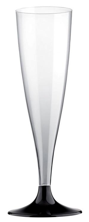 Taurės šampanui su juoda kojele, 140 ml, 6 vnt