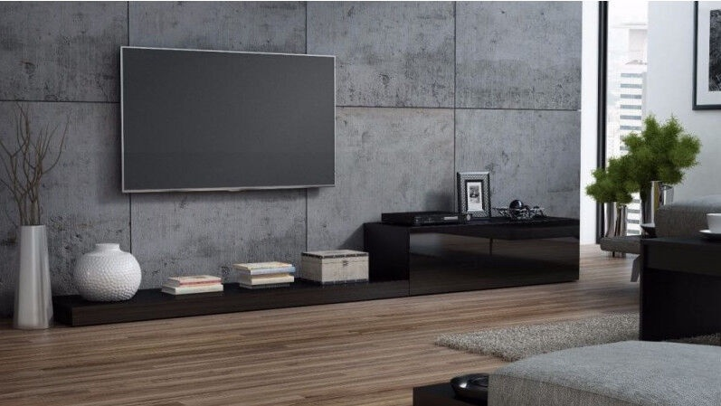 TV galds Cama Meble Life 300, melna, 3000x420x350 mm