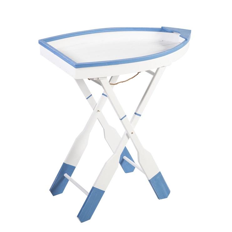 Kafijas galdiņš Home4you Beach House Boat, zila/balta, 640x360x700 mm