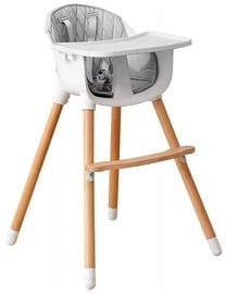 EcoToys Wooden Feeding Chair 2in1 White/Grey